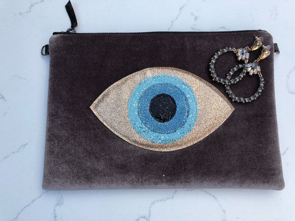 Taupe Brown Velvet Glitter Evil Eye Clutch