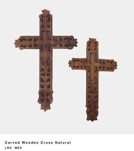 Carved Wooden Cross Natural
