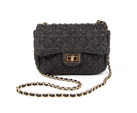 Raffia Black Shoulder Bag