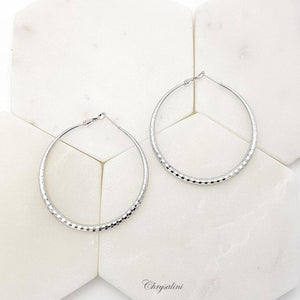 Patterned Silver Hoops 6mm