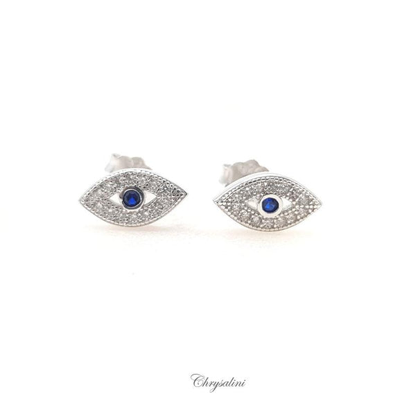 Sterling SIlver Dark Blue Evil Eye Earrings