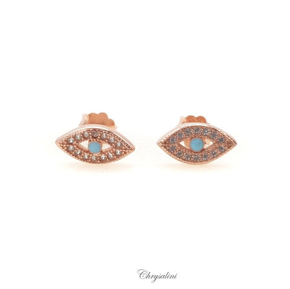Sterling SIlver Rose Gold Evil Eye Earrings