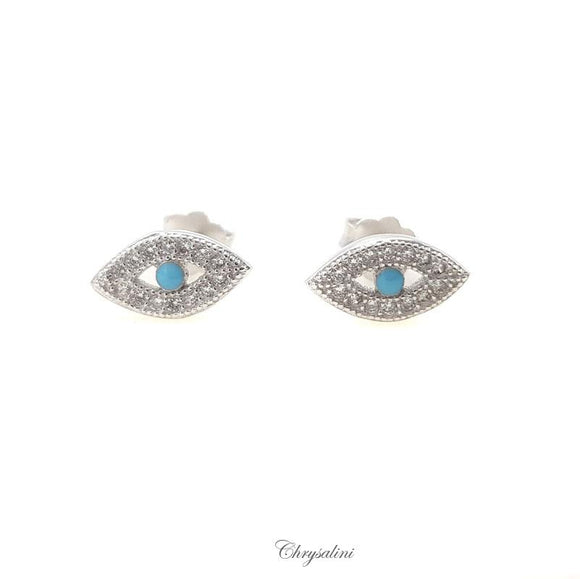 Sterling Silver Turquoise Evil Eye Earrings