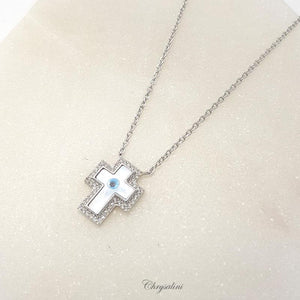 Sterling SIlver Evil Eye Cross Necklace