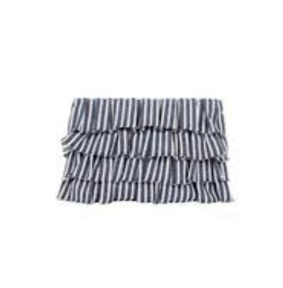 Ruffle Stripe Denim Zip Top Clutch