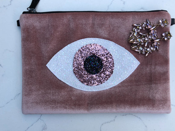 Pink Powder Velvet Glitter Evil eye clutch