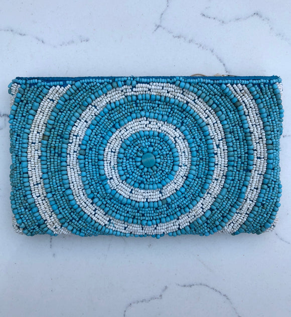Beaded Circle Spiral Zip Top Pouch