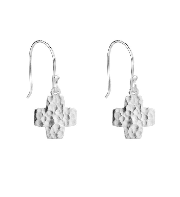 Hammered cross earrings silver