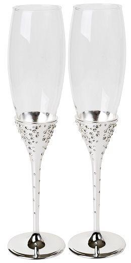 Silver Played Champagne Flutes x 2