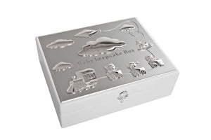 White with Silver Plated Keepsake Box