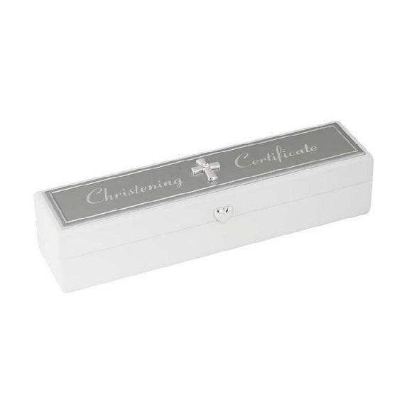 White with Silver Christening Certificate Box