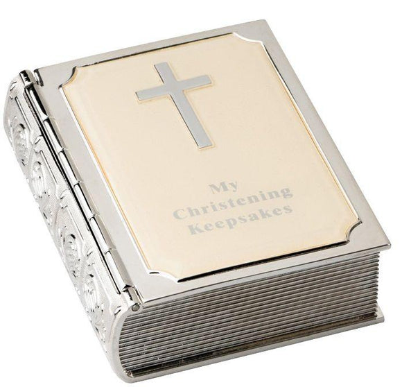 Christening Tinket Box Bible Keepsake