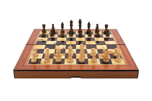 Dal Rossi Walnut Shiny Finish Folding Chess Set, 16