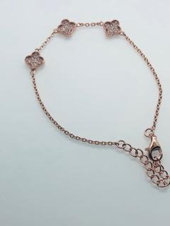 Three Rose Gold Four Leaf Clover Bracelet