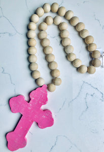 Wooden Beads with Cross Pink