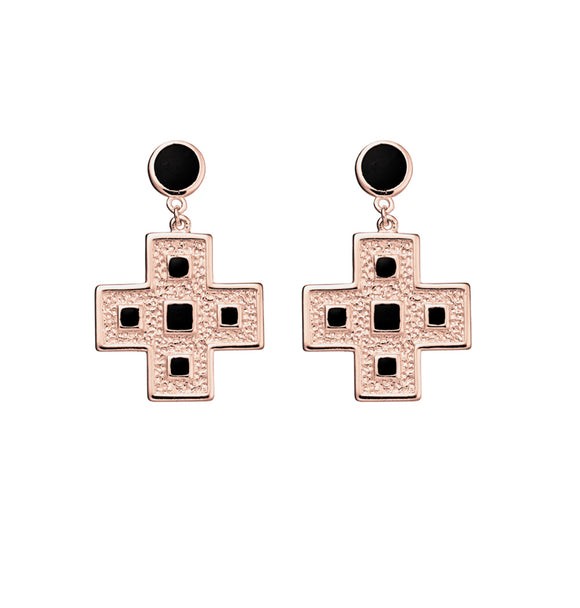 Cross Earrings with Black Resin RoseGold