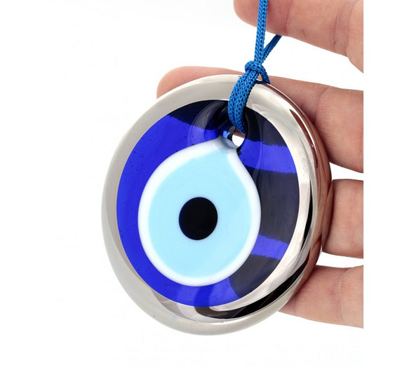 Blue Mati Evil Eye Bead Silver