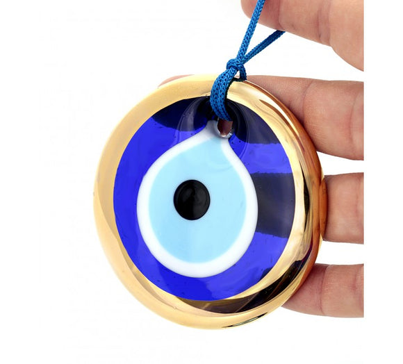 Blue Mati Evil Eye Beads Gold