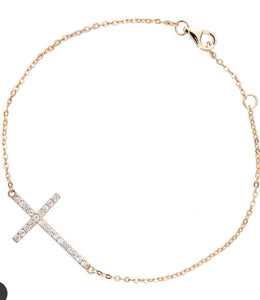 CZ Cross Bracelet Gold Plated