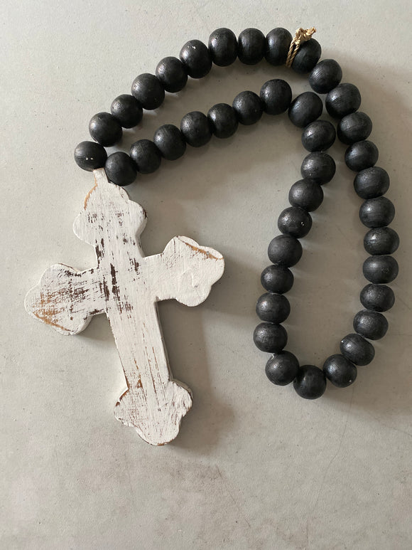 Wooden Beads with Cross White