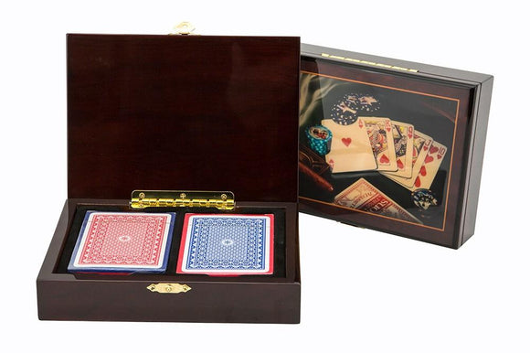 Wooden Card Box Cigar Style incl. cards
