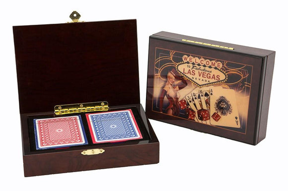Las Vegas - Wooden Card Box Cigar Style incl. cards