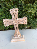 Cross Artisan Wood Carved Ornate Sml