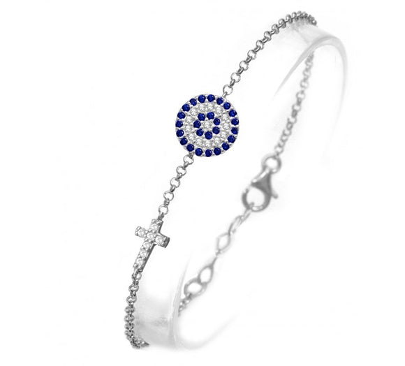 Evil Eye Cross CZ Bracelet Rose Gold