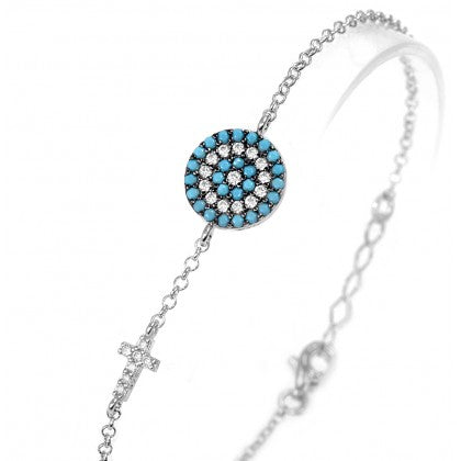 Evil Eye Cross CZ Bracelet