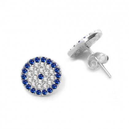 Celebrity Silver Evil Eye Earrings