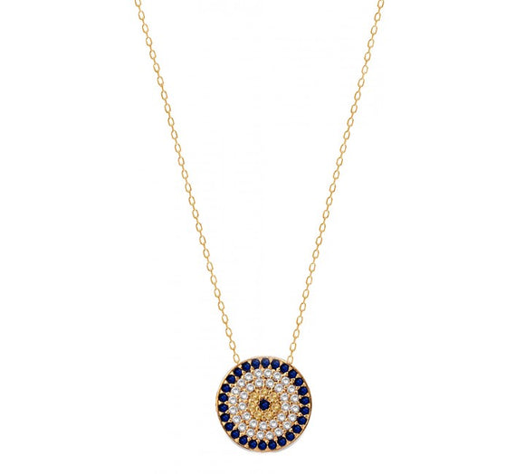 Evil Eye Necklace with CZ Stones Y/Gold