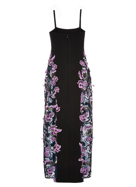 Wes Gordon Guipure Floral Lace Double Slit Slip Dress Size 10
