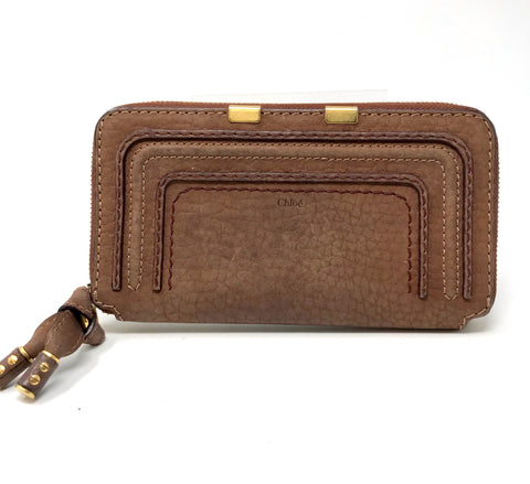 Chloe Brown Marcie Nubuck Long Zip Around Wallet