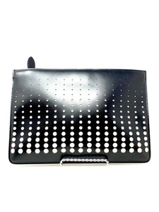ALAÏA - Laser Cut Circles Black and White Leather Clutch