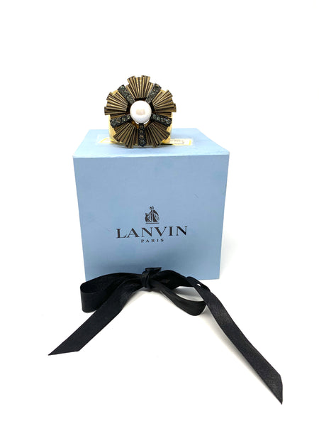 Lanvin Flower and Faux Pearl Gold Plated Cuff Bracelet
