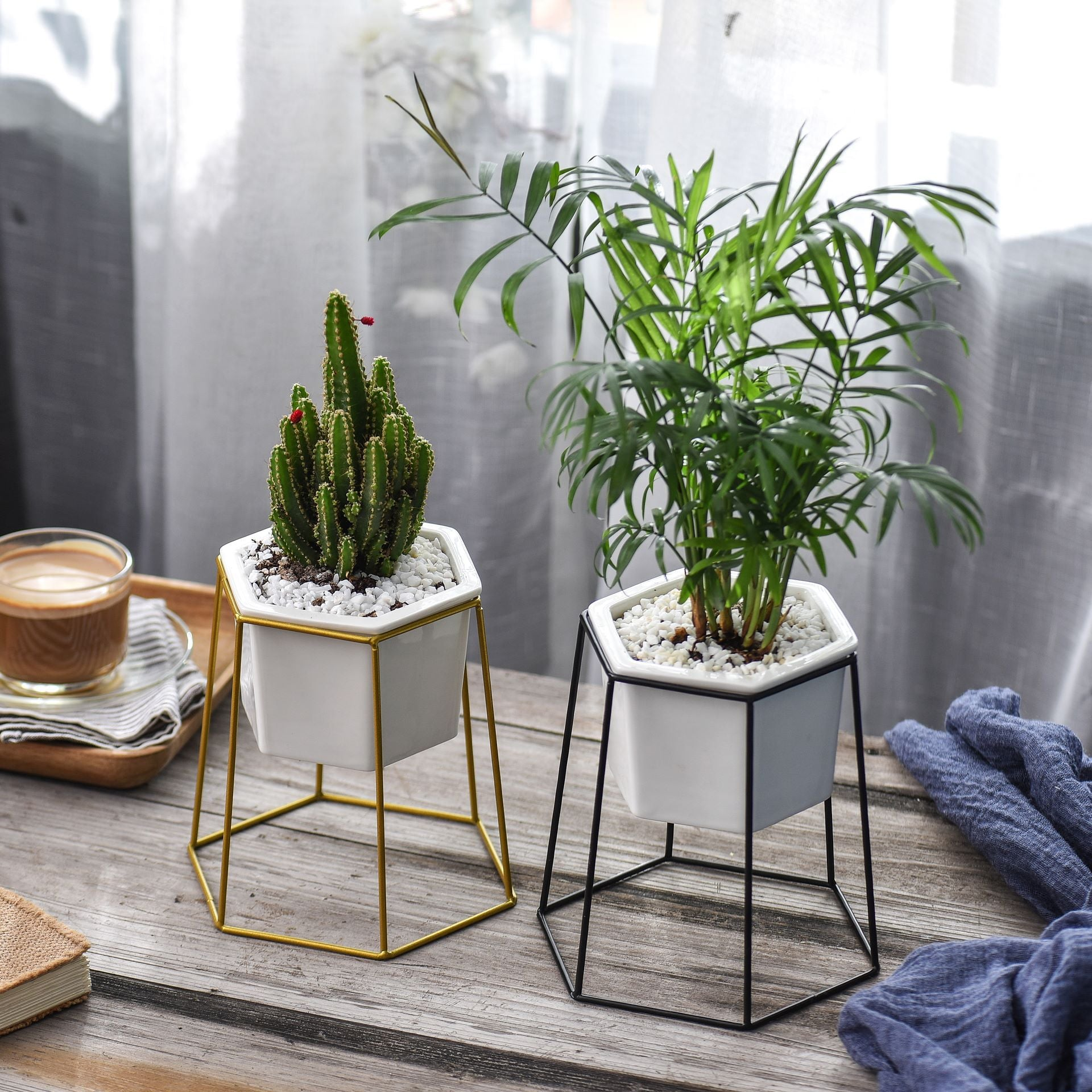 Scandi Hexagonal Wire Planter