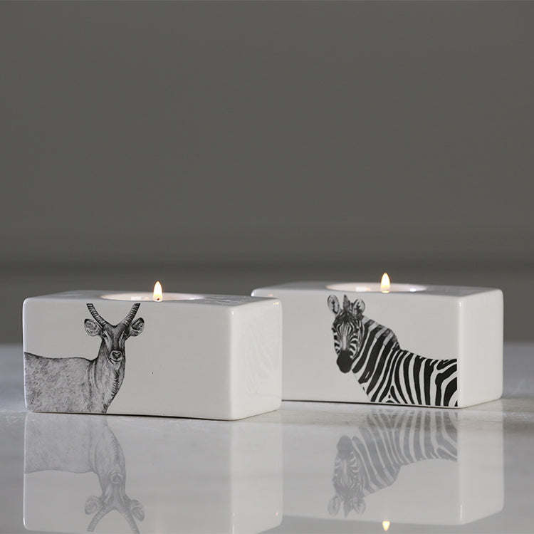 Safari Porcelain Candle Holders