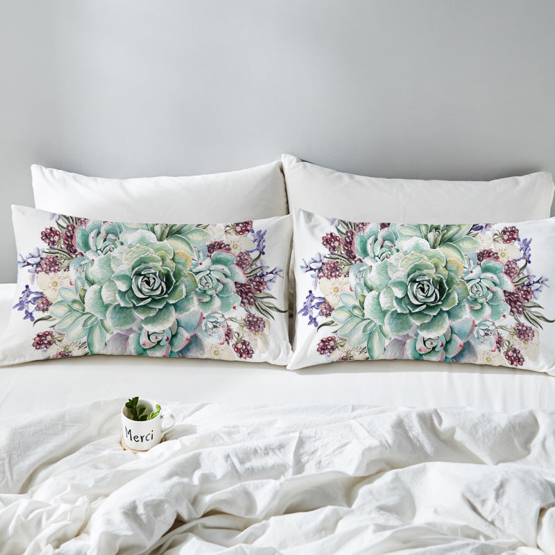 Sweet Succulent Pillow Case Set