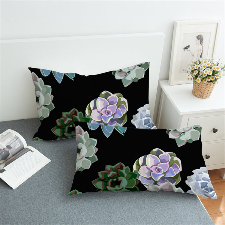 Black Succulent Pillow Case Set