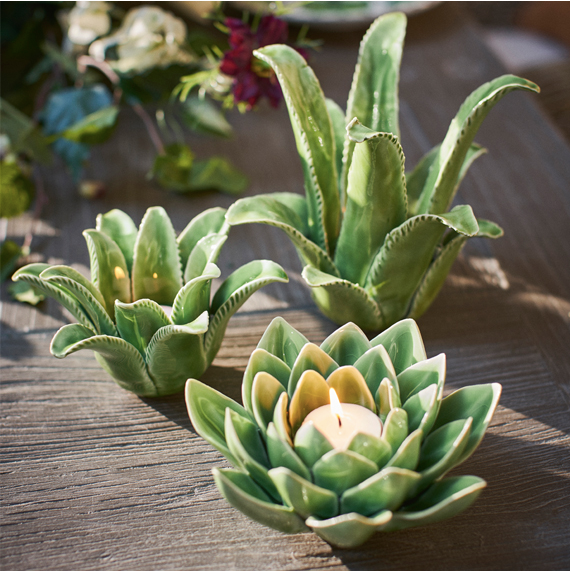 Succulent Porcelain Candle Holders