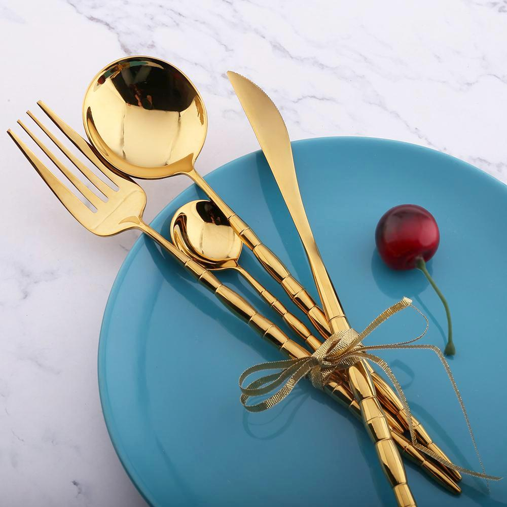 Gold Bamboo Cutlery Set