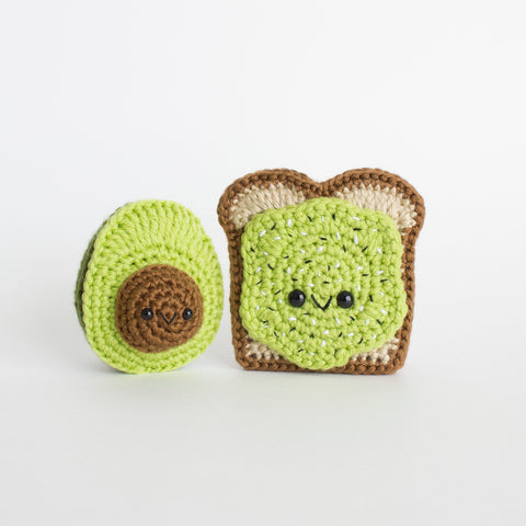 Crochet Amigurumi Avocado Toast and Avocado Set- READY TO SHIP
