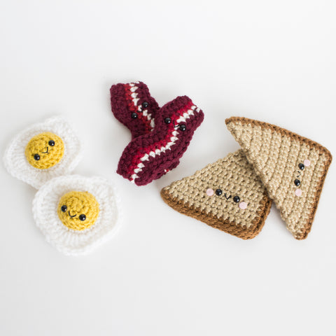 Crochet Amigurumi Bacon, Egg and Toast Set- READY TO SHIP