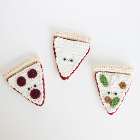 Crochet Amigurumi Pizza Slice Set of 3- READY TO SHIP
