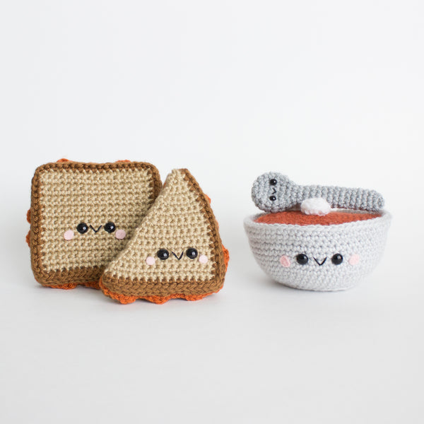 Crochet Amigurumi Grilled Cheese and Soup Set- READY TO SHIP