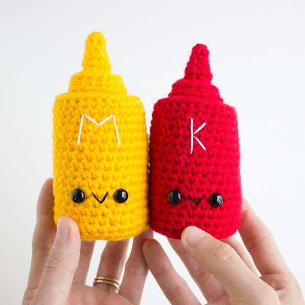 Crochet Amigurumi Hot Dog and Condiment Set- READY TO SHIP