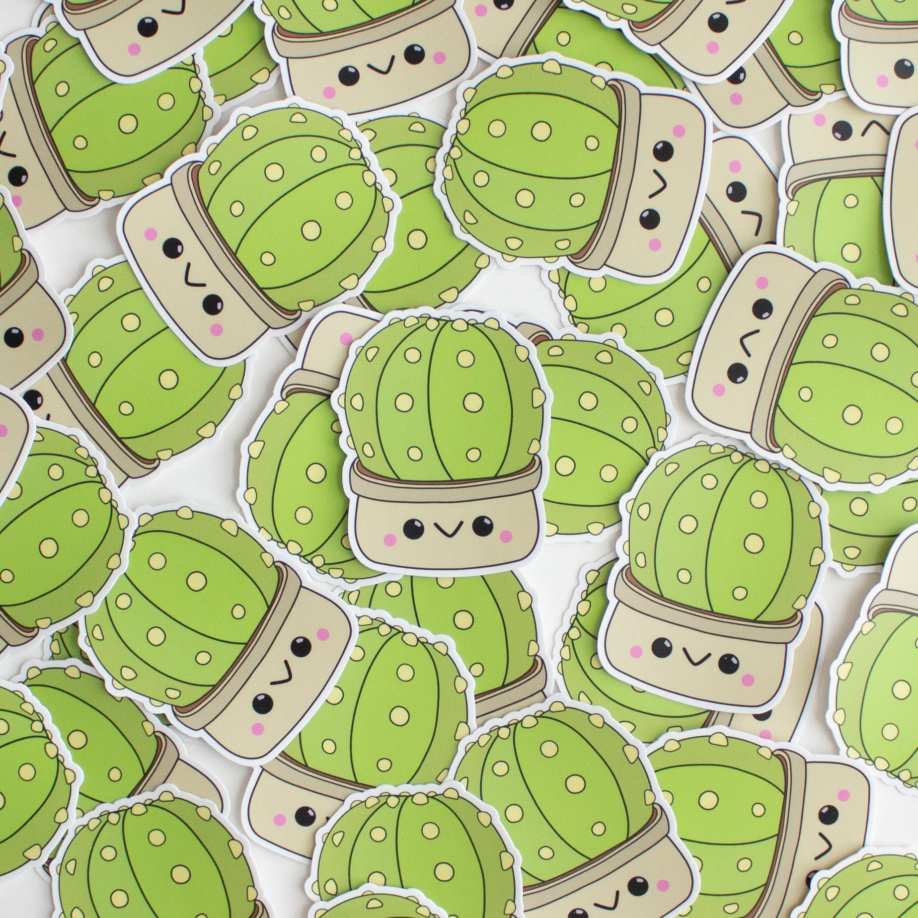 Kawaii Sand Dollar Cactus Sticker