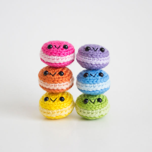 Crochet Amigurumi Mini French Macarons- Set of 6- MADE TO ORDER