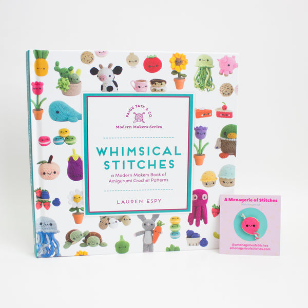 SIGNED COPY of Whimsical Stitches PLUS a HOT PINK Stitch the yarn ball enamel pin!
