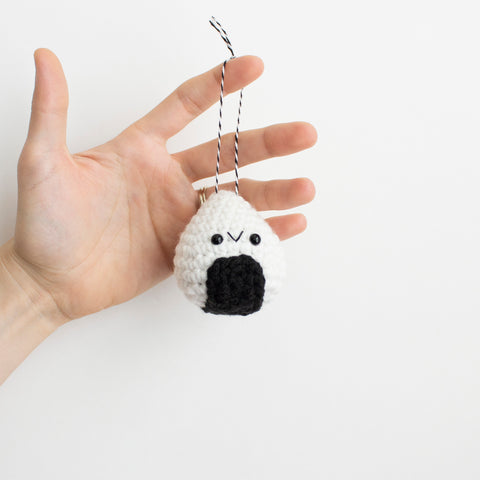 Crochet Amigurumi Rice Ball Ornament- READY TO SHIP